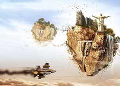 Photoshop拼图场景天空之城